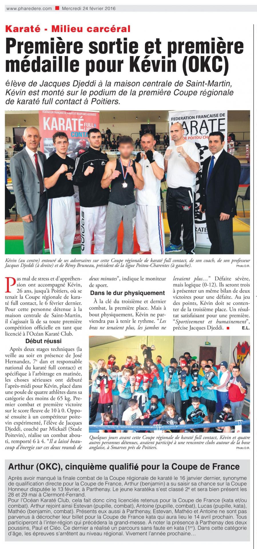 Presse karate full contact et coupe honneur